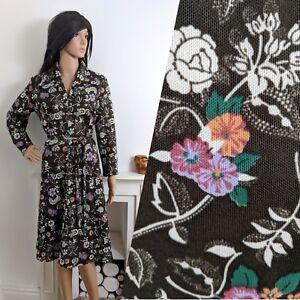 VINTAGE-70-s-Fleur-Coquelicot-CRIMPLENE-fermeture-zippee-Shift-une-ligne-Belted-Dress-14-16-42