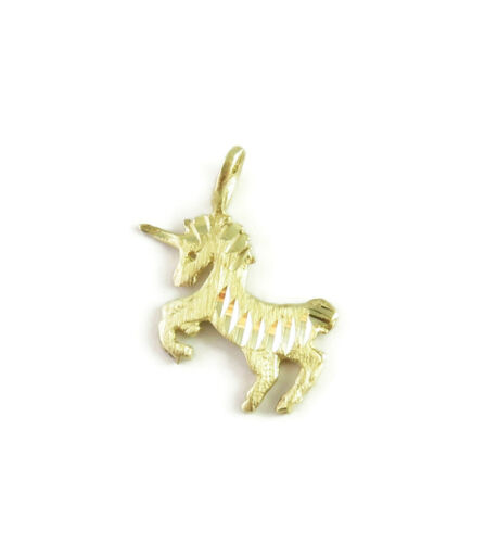 14K Yellow Gold Unicorn Charm Necklace Pendant ~ … - image 1