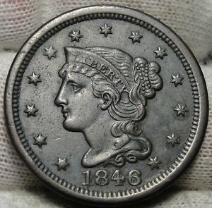 1846-Large-Cent-Penny-Braided-Hair-Penny-Nice-Coin-Free-Shipping-5212