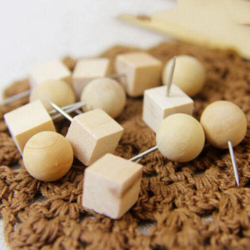 10//20Pcs Decorative Push Pin Wood Drawing Pins Home Office Board Holder ^P