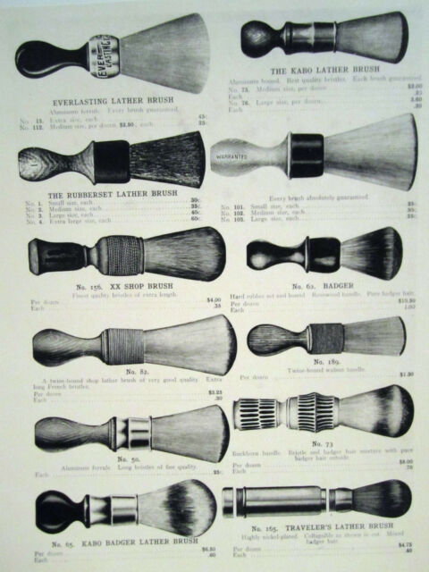 12 1909 Vintage Lather Shaving Brushes Barbershop Sign Ad