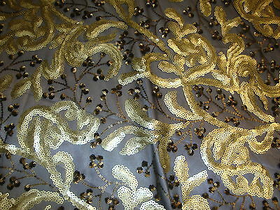 """GOLD AND BLACK SHINNY VINE WITH FLOWER SEQUIN 52"""" WIDE FABRIC BY THE YARD"""