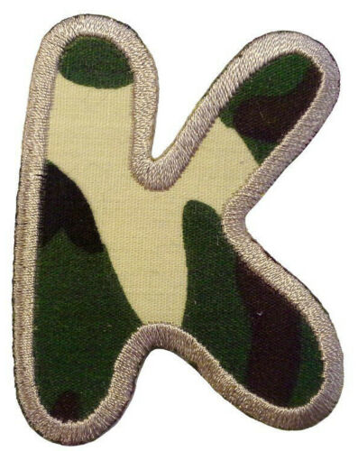 Camouflage Army English Alphabets Patch Badge Iron// Sew On A B C D E F G H J K L