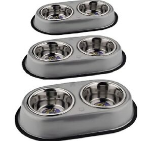 DOUBLE-DINER-SET-S-M-L-Non-Slip-Dog-Cat-Food-Water-Bowls-dm-Metal-Dish