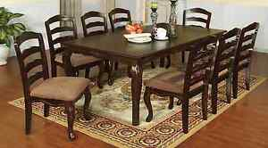 Townsville Dark Walnut 9pc Dining Set Dining Table & Floral Accent 8 Side Chairs