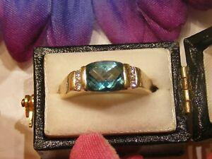 Vtg-14k-Yellow-Gold-Blue-Zircon-And-Diamond-Ring