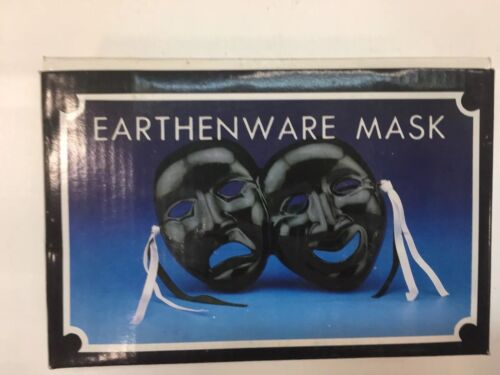 Earthenware Tragedy /& Comedy Mask Drama Actor Actress Gift Decor Black Broadway