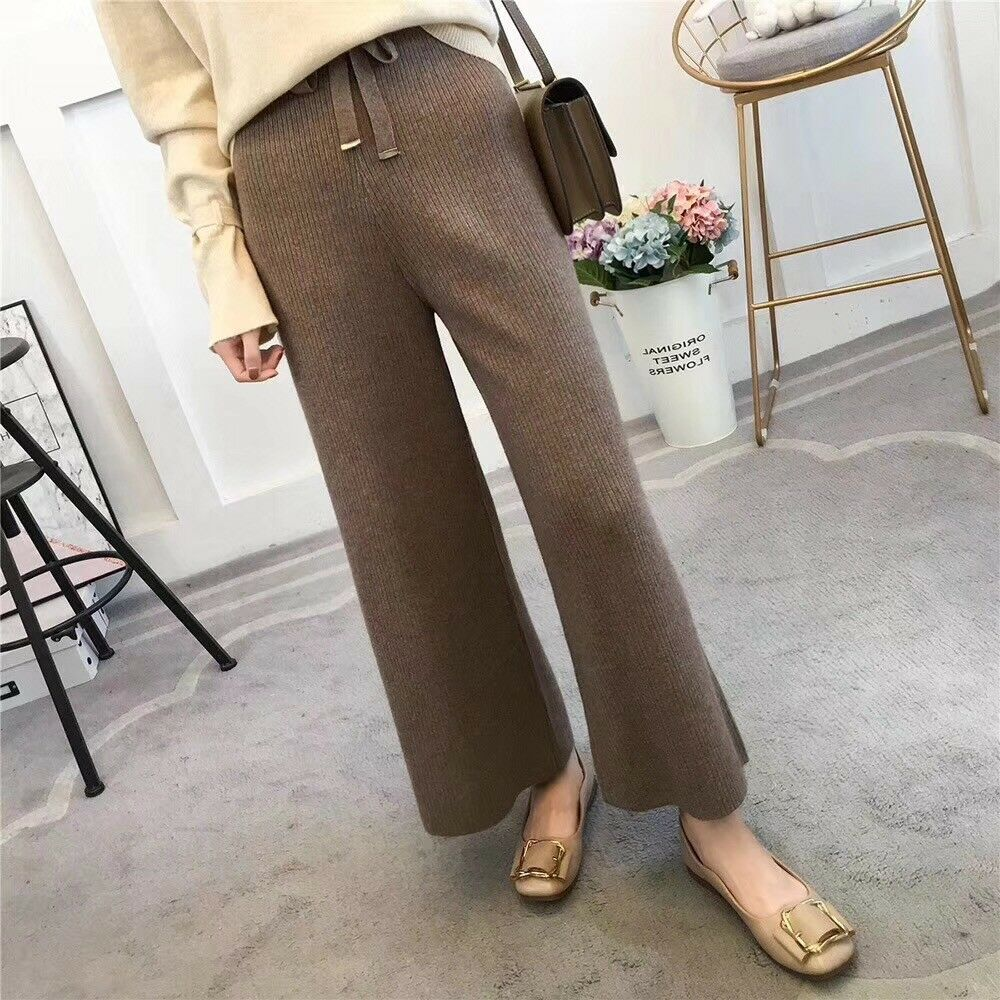 Womens Casual Trouser Cashmere Wool Blend Wide Leg Pants Casual warm Solid pants