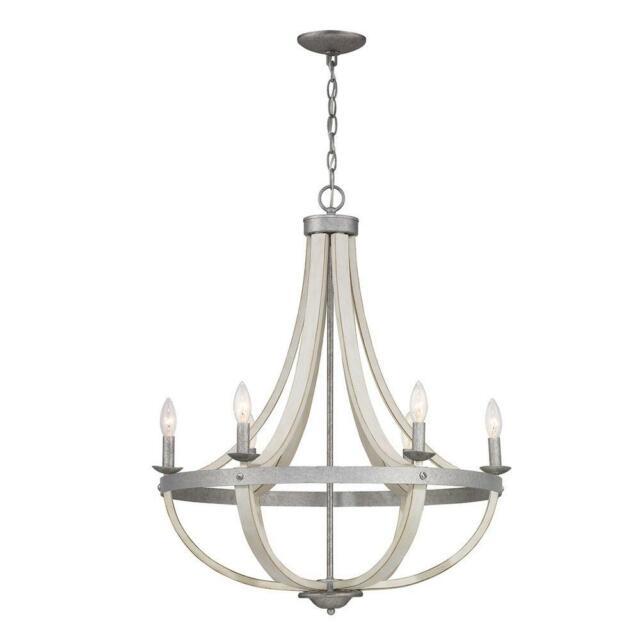Toltec Lighting Revo Dark Granite Five Light Chandelier With White Linen Glass For Sale Online Ebay