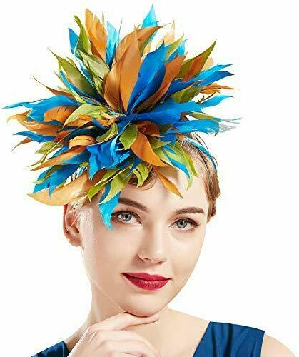 Coucoland 1920s Haarreif Feder Bunt Fascinator Damen Stirnband Gatsby Cocktail P