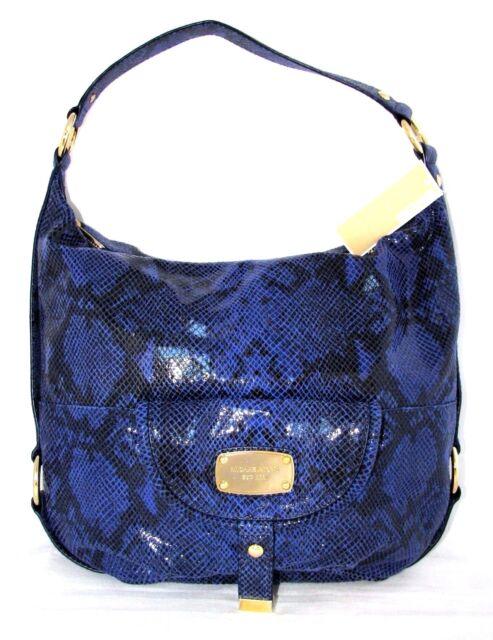 72410e7227f3 NEW MICHAEL KORS BRIMFIED LAPIS BLUE PYTHON EMBOSSED LEATHER SHOULDER HAND  BAG