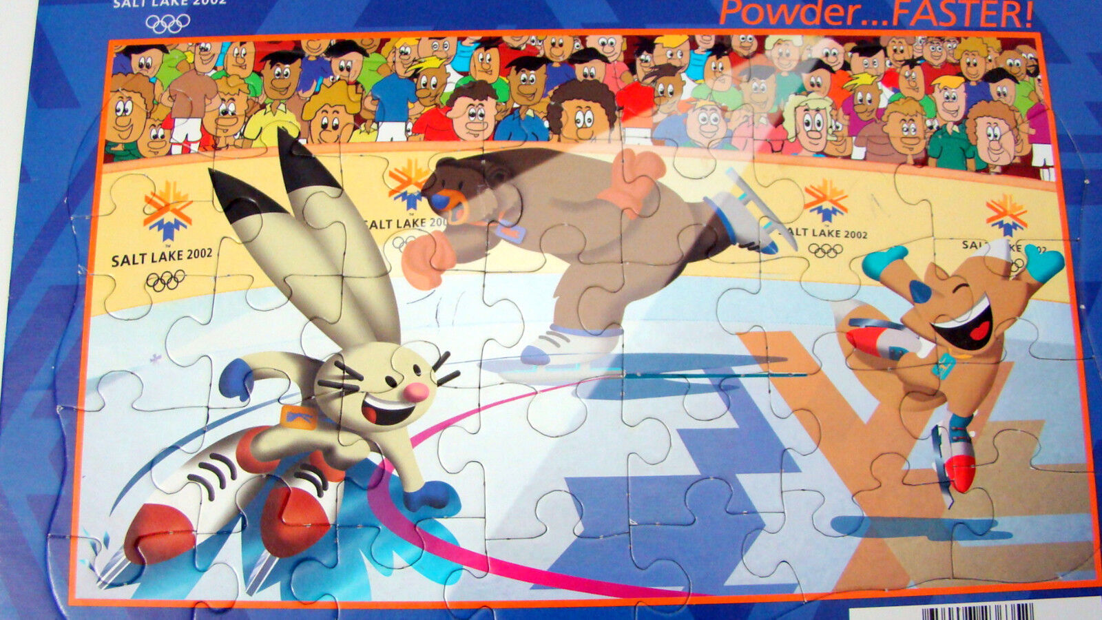 2002 Salt Lake City Olympic Jigsaw Puzzle Ice Skating Powder..FASTER 3 Mascots