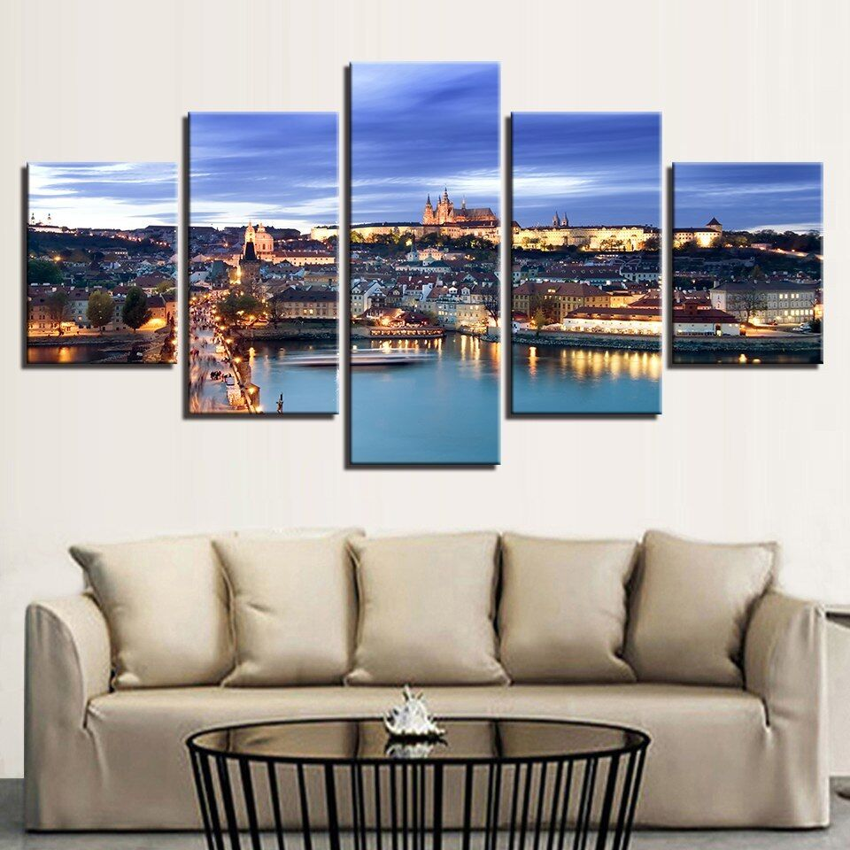 Prague City Painting 5 Panel Canvas Print Wall Art Poster Home Decor