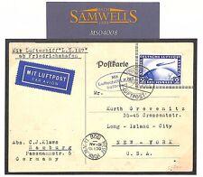 MS4008 1928 GERMANY Friedrichshafen Zeppelin Airmail 2Rm Printed Matter Card USA