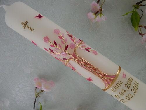 Taufkerze Kommunionkerze Lebensbaum rosa gold Mädchen 300x50 mm