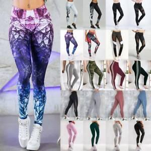 Damen Leggings Stripe Sport Yoga Fitness Leggins Legging Jogginghose Hose  DE