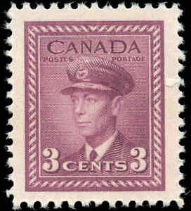 Mint-NH-Canada-3c-1943-F-Scott-266-King-George-VI-War-Coil-Stamp