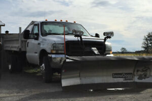 Plow truck with landscape dump box