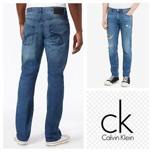 5e2638a5f83 CALVIN KLEIN SLIM STRAIGHT LEG DISTRESS MENS BLUE JEANS Sz 31 x 32 ...