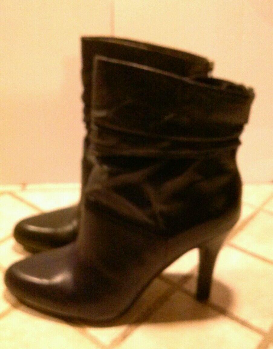 Nuevo  incluido incluido incluido Fuerte Negro Cuero Acanalada botas al Tobillo Zapatos 10 e6979e