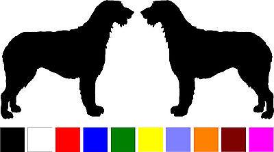 2 Irish Wolfhound dog breed  (RIGHT & LEFT) silhouette vinyl stickers