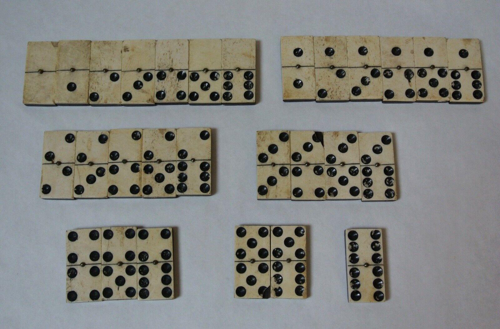 28 Antique Civil War Era Bovine Bone & Ebony Domino Set With Brass Pin
