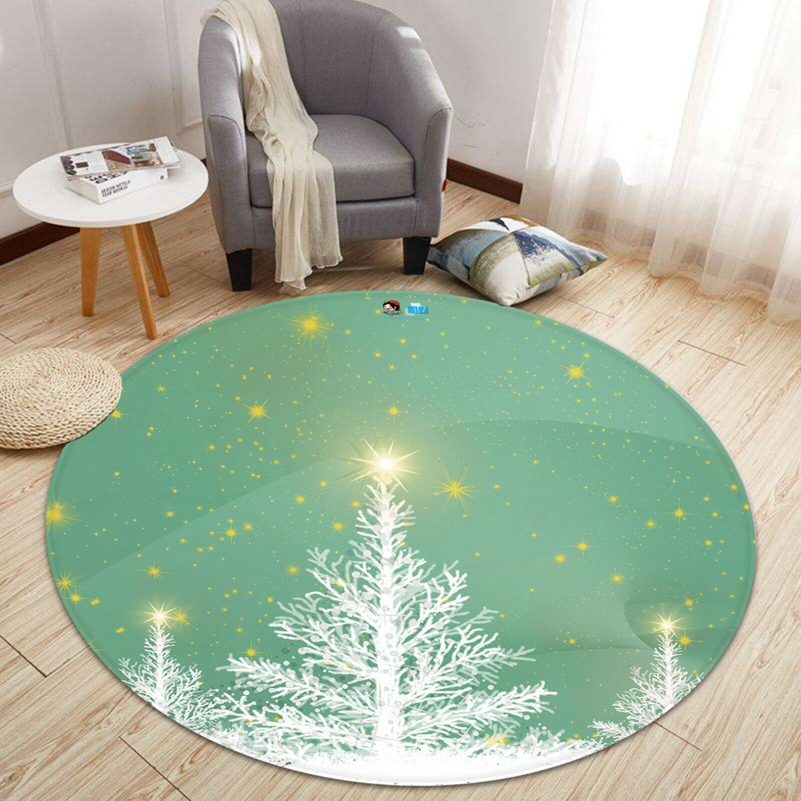 3D 3D 3D Christmas Xmas Star Tree 21 Non Slip Rug Mat Room Mat Round Elegant Carpet UK 8b1c00
