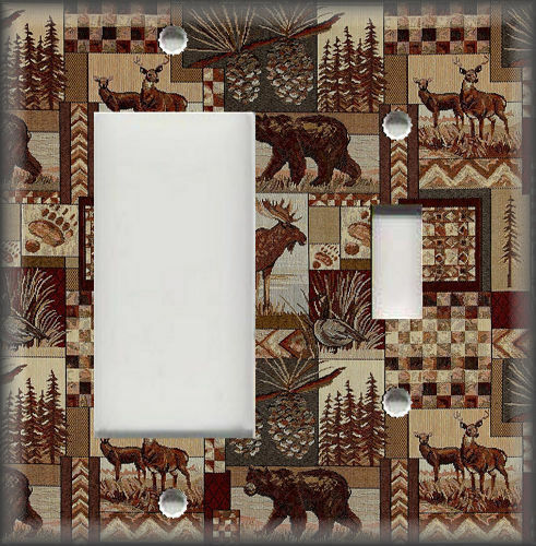 Rustic Bear Moose Deer Decor Cabin Decor Rustic Metal Light Switch Plates