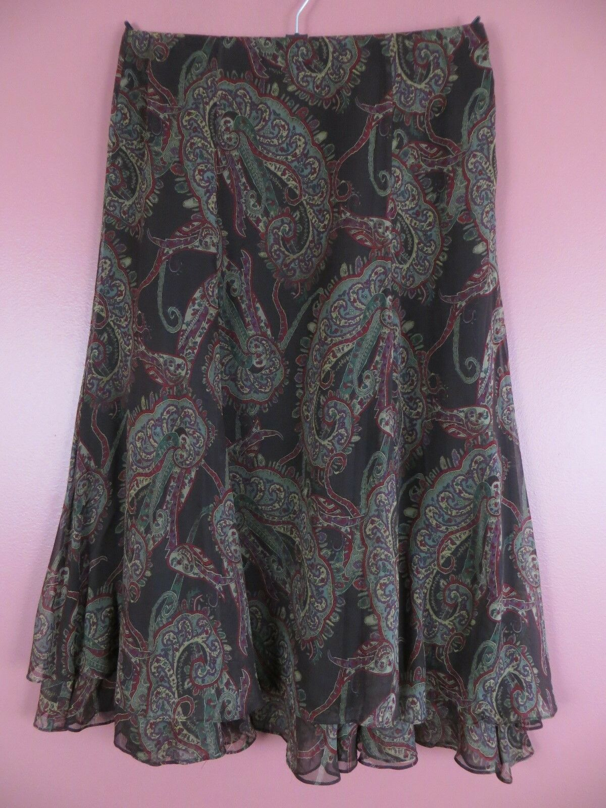 SK13598- RALPH LAUREN Womens 100% Silk Flare Skirt Multi-color Geo Sz 8 MINT