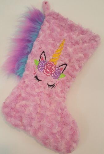 Handmade Faux Fur Pink Unicorn  Stocking-Monogram Available