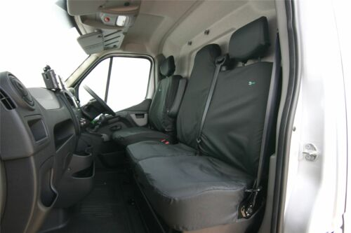 Fits Nissan NV400 Seat Cover-FRONT SET 2010 Black TAILORED//WATERPROOF//WASHABLE