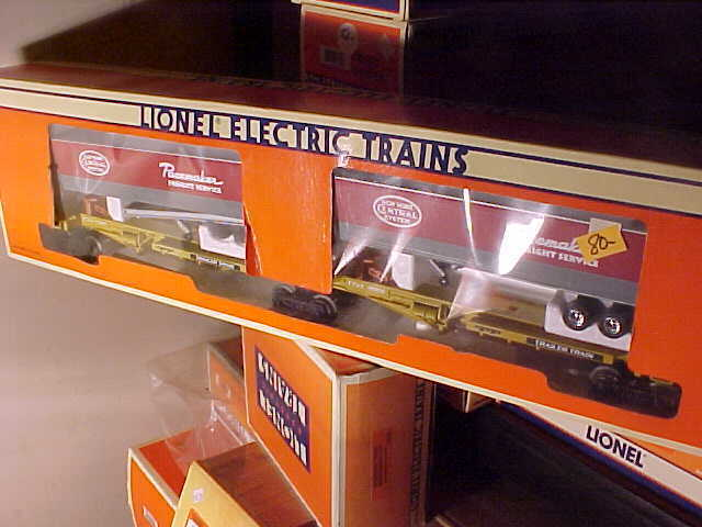 LIONEL,,,NYC FLATCAR SET WITH TRAILERS