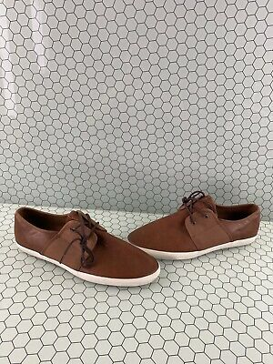 aldo brown leather/canvas low top lace up casual shoes men