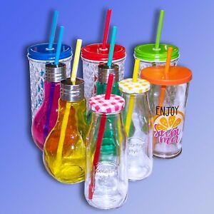 Frullato Vetro Bottiglia Tazza con Coperchio O Cannuccia, Borraccia Bicchiere