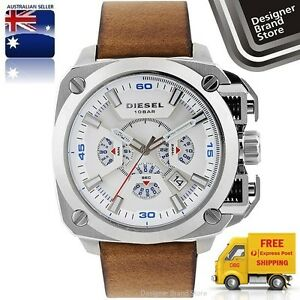 New-Diesel-Mens-Watch-Bamf-Silver-Square-Dial-Brown-Leather-Strap-Chrono-DZ7357