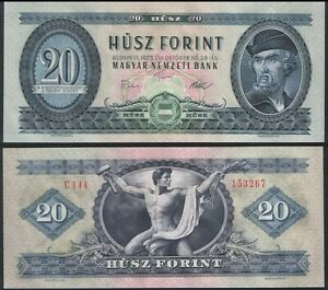 Banknotes of All Nations Hungary 20 Forint 1975 P 169f UNC