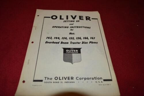Oliver Tractor 143 144 154 155 156 166 167 Disc Plow Operator/'s Manual BVPA