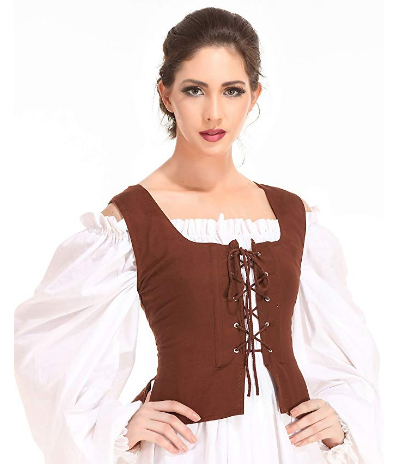 Medieval Wench Pirate Renaissance Cosplay Costume Reversible Peasant Bodi,