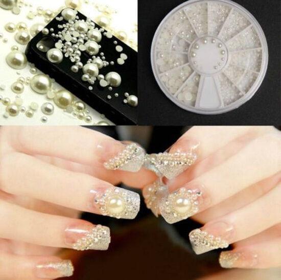 White Pearl Nail Art Stone Different Size Wheel Rhinestones Beads
