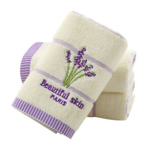 Printed-Embroidery-Aromatherapy-Bath-100-Cotton-Hand-Lavender-Face-Towel