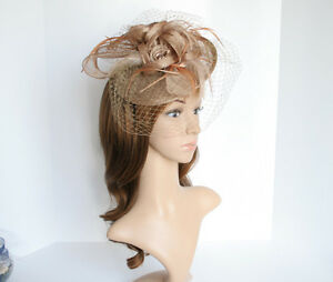 NEW Church Derby Wedding Sinamay & Feather & Veil Fascinator Taupe C-VF651