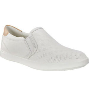 Ecco-Womens-Gillian-Slip-On-Leather-Casual-Loafers-Shoes-White