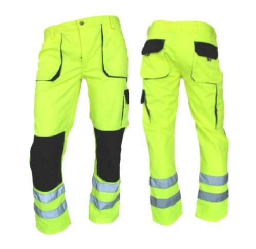 gullee Men Hi Viz Cargo Trouser Reflective Safety Visibility Highway Workwear