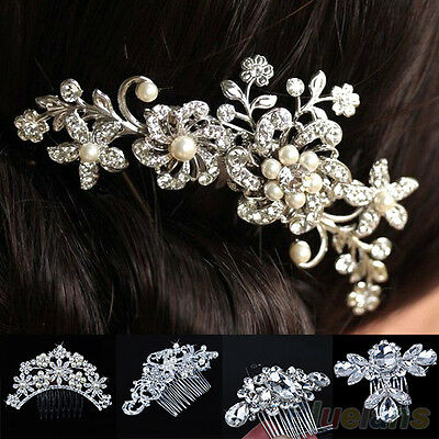 New Crystal Rhinestone Wedding Flower Pearls Hair Clip Hair Comb For Women Bride