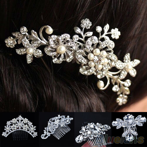 LOVELY BRIDAL WEDDING FLOWER HAIR COMB CRYSTAL RHINESTONE PEARLS HAIR CLIP GIFT