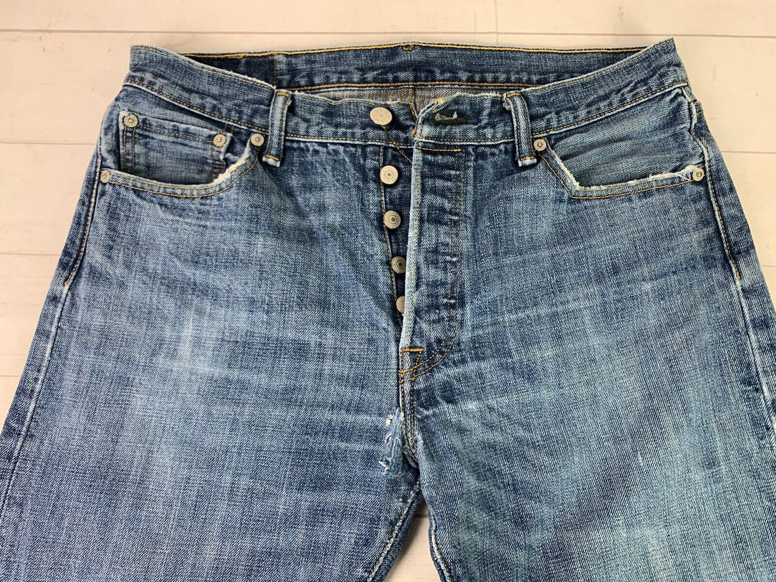 Jeans LEVIS 501 Label Size 34x32 Distressed Blue … - image 5