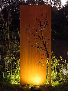Gartenwand Sichtschutz Wand Baum 2 Stahl Rost 75x195 Cm Ebay