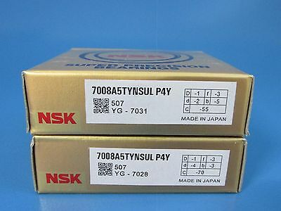 Matched Set of 2 NSK 7001A5TYNSULP4Y Abec-7 Super Precision Spindle Bearings