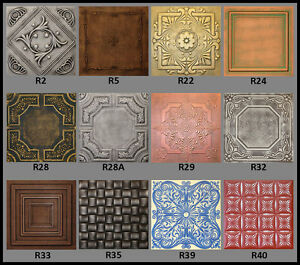 Tin Look Faux Ceiling Tiles 20x20 Different Colors Ebay