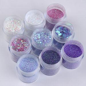 9Boxes-Set-Holograph-10ml-Nail-Art-Glitter-Powder-Sheets-Tips-Mixed-Powder-Decor